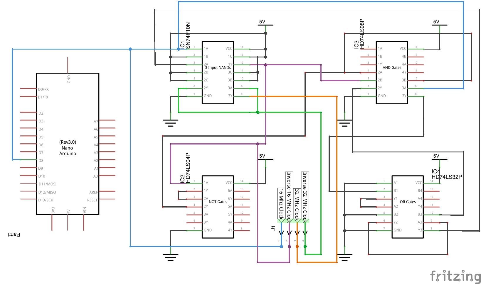 Schematic for digital clock doubler with Arduino