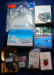 Pictures of ingredients for a Raspberry Pi Hadoop Cluster