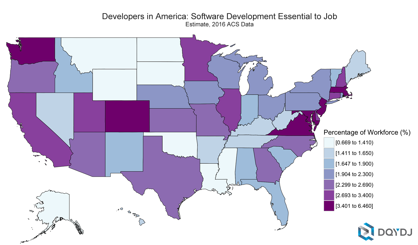 Number of Developers in America: Number of Developers per State: 2016 IPUMS-ACS