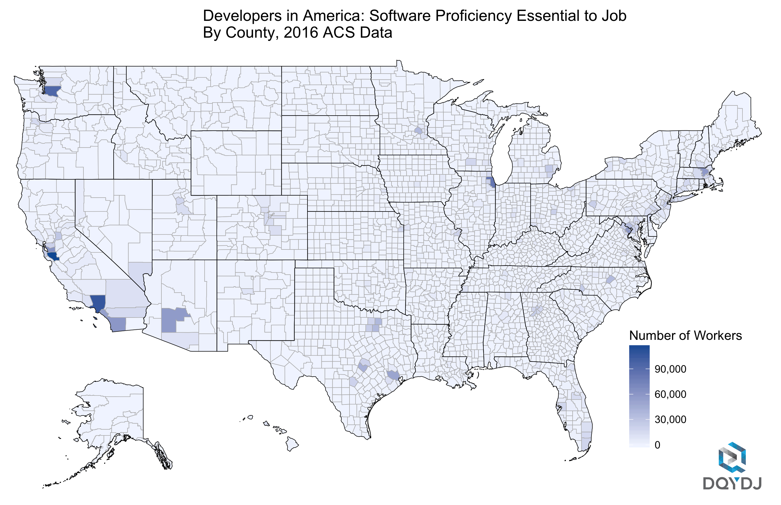 Number of Developers per County in 2016