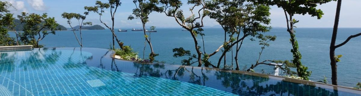Infinity pool with view out over ocean