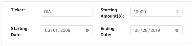 ETF return calculator basic input fields.
