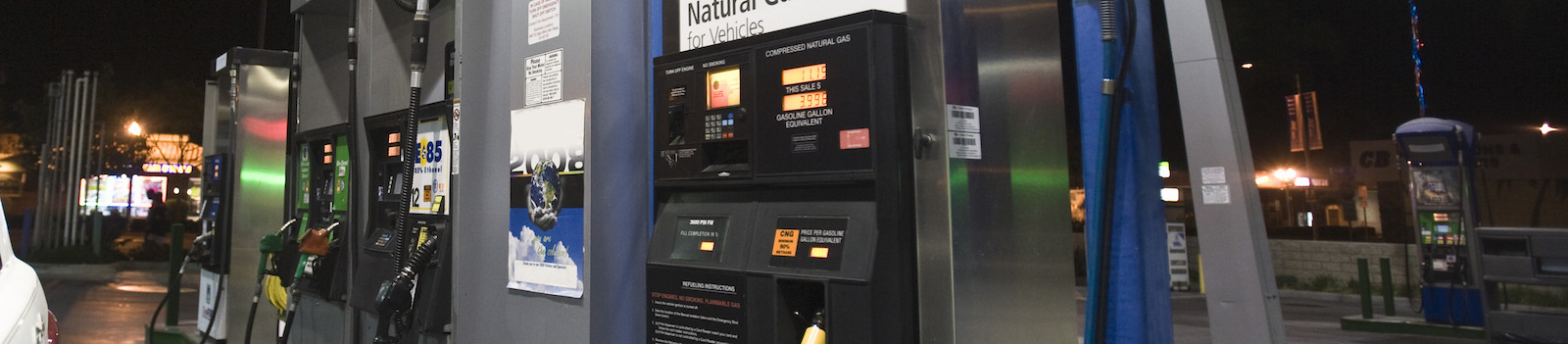 Gas pumps where you might hedge your gas prices