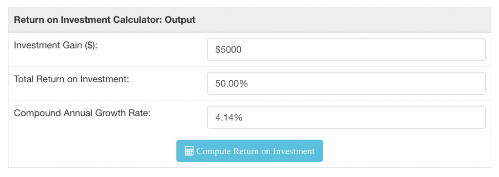 Return on investment calculator outputs after running a scenario