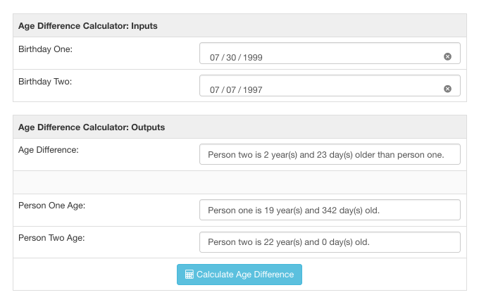 Age difference calculator screenshot for two