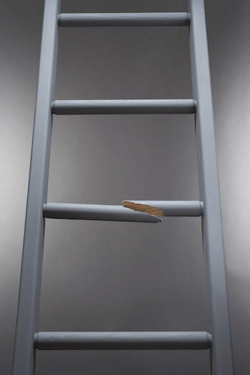 Ladder with one step broken denoting the worst that can happen
