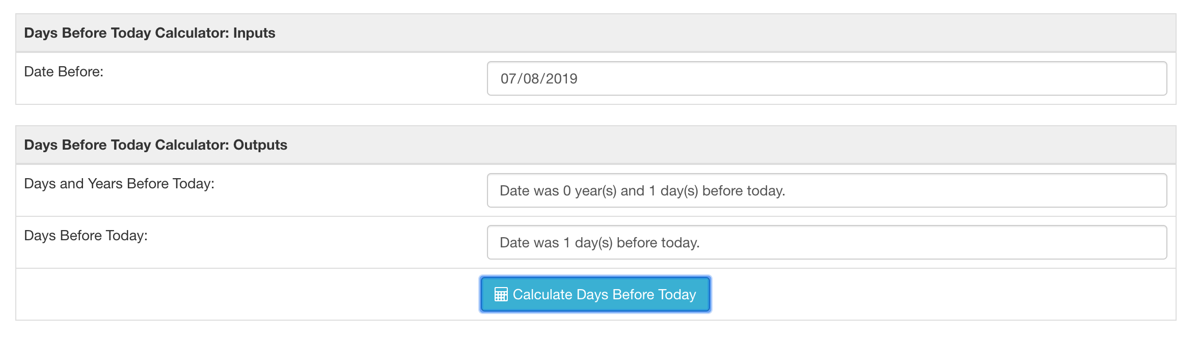 Days since date calculator result for July 8, 2019 start run on July 9, 2019.