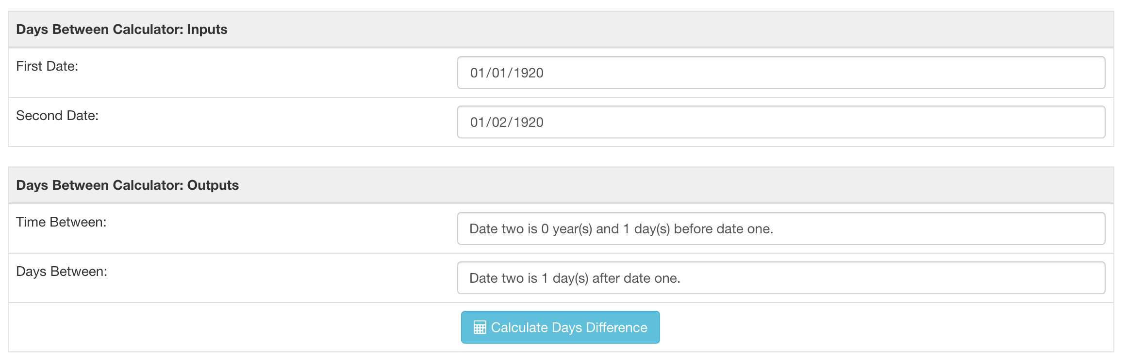 Days between calculator result for a date and the very next day.