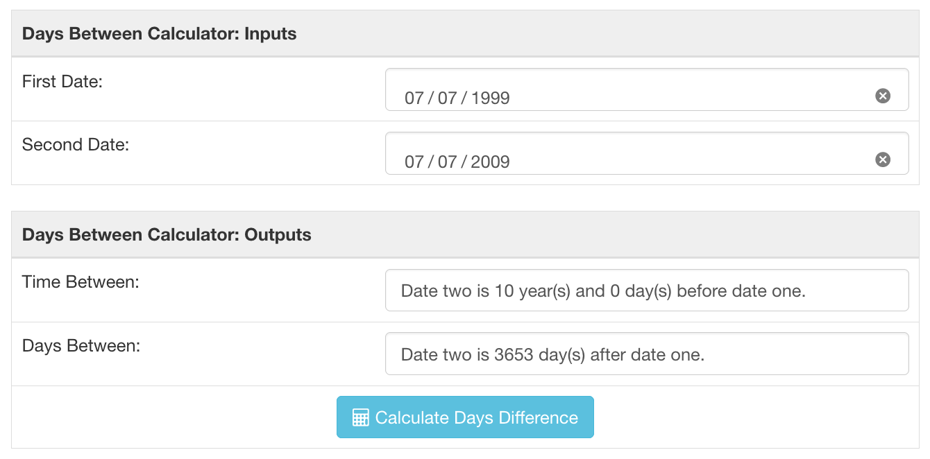 Screenshot showing the days between dates calculator for two dates ten years apart. Both years and days.