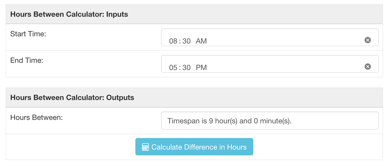 Hours between times calculator showing a 9 hour difference from 8:30 AM to 5:30 PM.