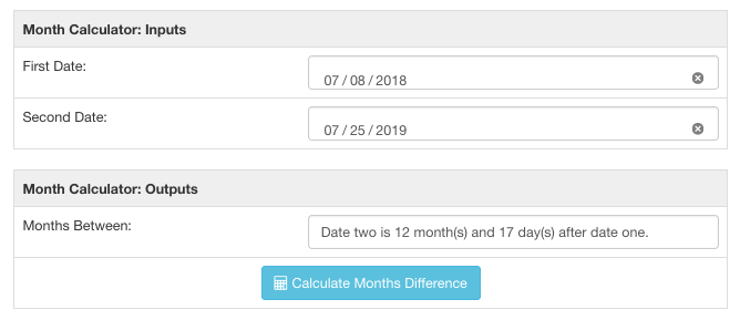 Month calculator showing the difference between two dates by number of months.