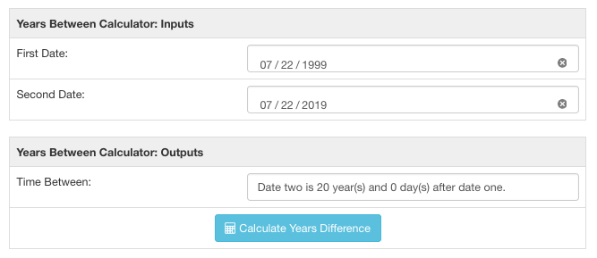 Year calculator after running the tool on two dates 20 years apart.