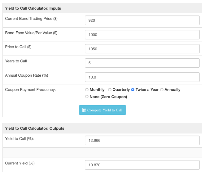 Yield to call calculator screenshot showing approximate yield on a bond callable in 5 years.