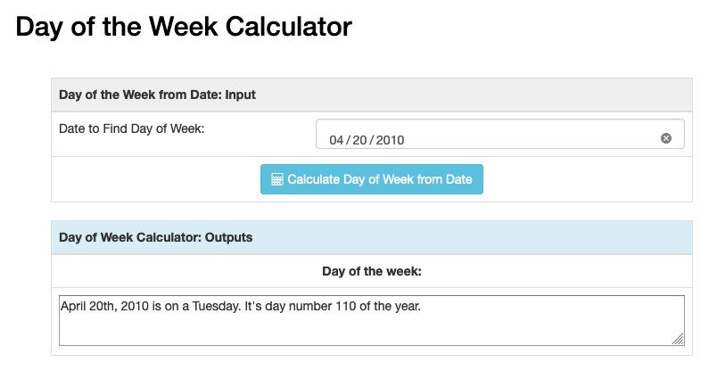 Screenshot of the day of the week calculator showing input, output, and execute.