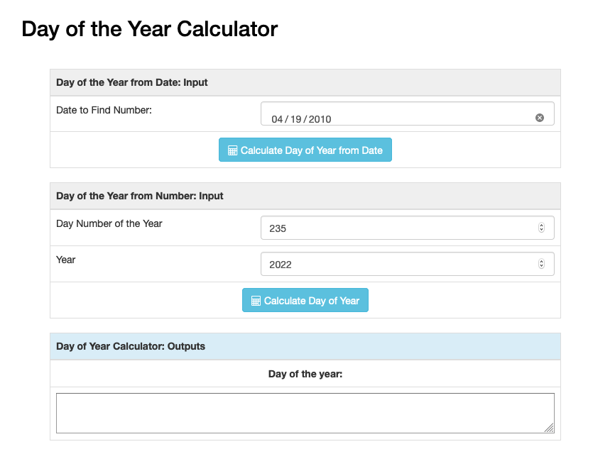 Screenshot of day of the year calculator showing how to go from number to date or vice versa