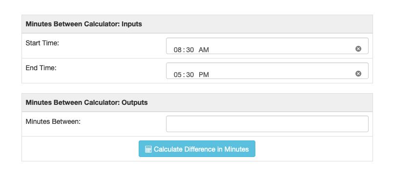 Minutes calculator screenshot showing timeframe input