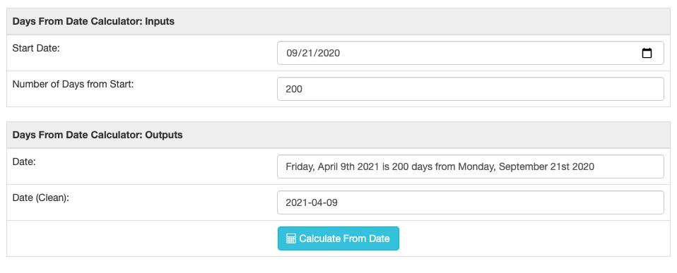 Days from now calculator screenshot showing a run