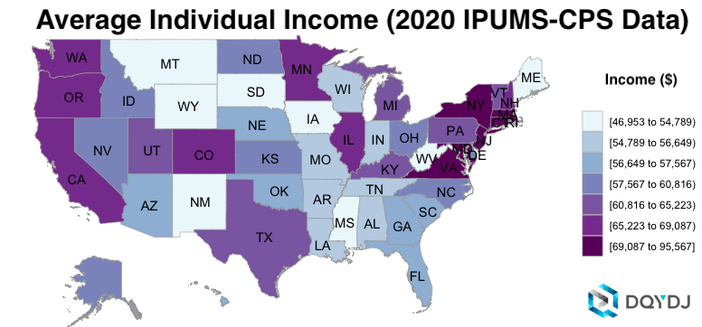 Average Individual Income by State in 2020