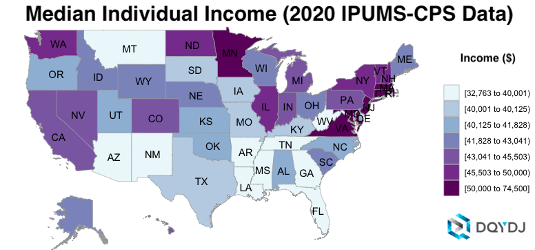Median Individual Income by State in 2020