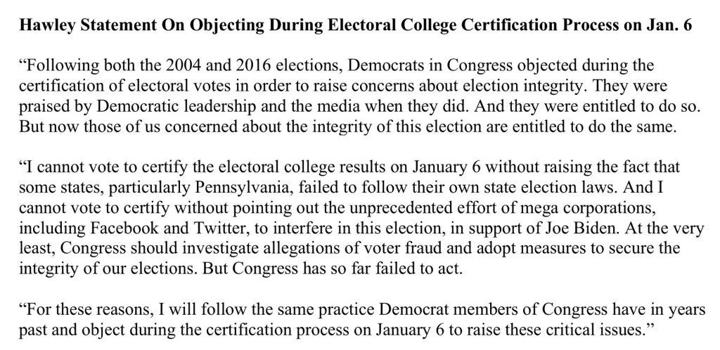Josh Hawley's statement on December 30, 2020 stating he'll raise concerns about voting integrity on January 6.