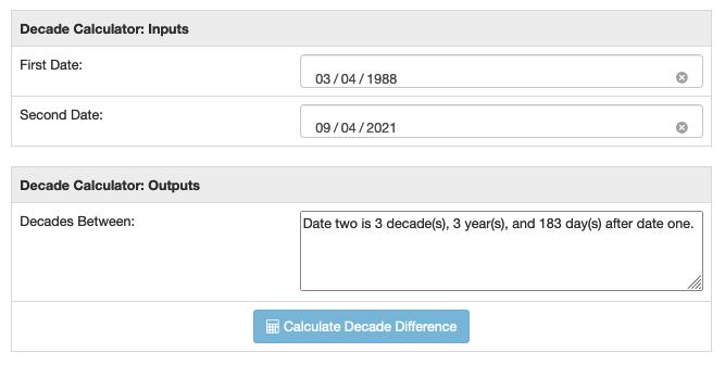 Decades between calculator sample run