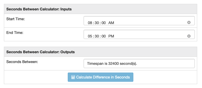 Seconds difference calculator run for a standard work shift
