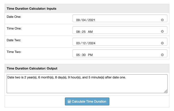 Time Duration Calculator: Years, Months, Days, Hours, and
